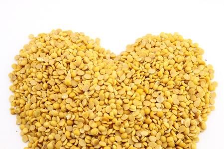 Soybeans, split in half concept heart photo