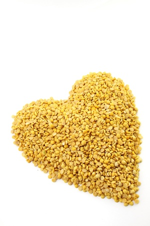 Soybeans, split in half concept heart photo