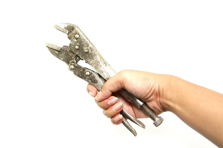 locking: Locking pliers on hand Stock Photo