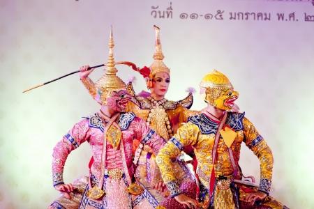 BANGKOK, THAILAND - JANUARY 15: Thai Traditional Dress. This is the ancient acting of Khon-Thai classical masked ballet in Thailand, January 15, 2012 in Bangkok, Thailand.