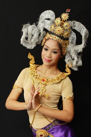 nosering: BANGKOK, THAILAND - JANUARY 15: Thai Traditional Dress. This is the ancient acting of Khon-Thai classical masked ballet in Thailand, January 15, 2012 in Bangkok, Thailand.