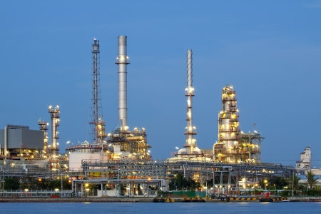 petrochemical oil refinery factory pipeline at  twilight Bangkok Thailand  Stock Photo