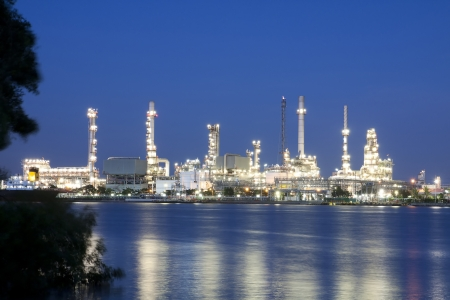 Oil refinery at twilight Bangkok Thailand  Stock Photo