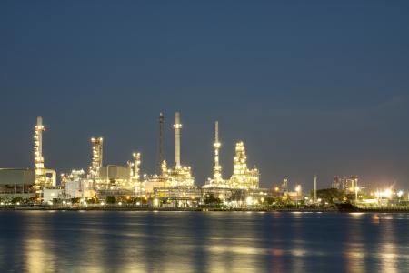 Oil refinery at twilight Bangkok Thailand  Stock Photo