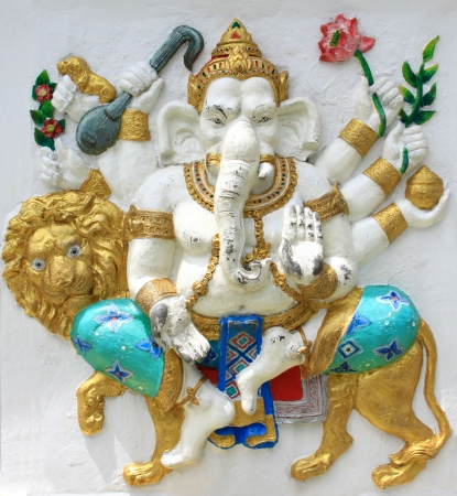 parvati: Hindu Trimukha Ganapati at temple in thailand
