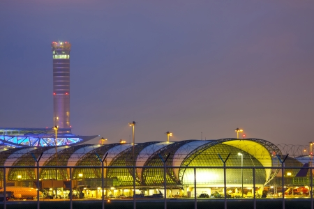 Suvarnabhumi Airport at twilight protect by barb