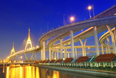 Bhumibol Bridge in Thailand, also known as the Industrial Ring Road Bridge, in Thailand. The bridge crosses the Chao Phraya River twice.  Stock Photo - 15639738