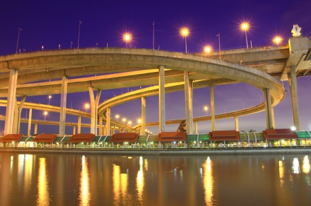 Bhumibol Bridge in Thailand, also known as the Industrial Ring Road Bridge, in Thailand. The bridge crosses the Chao Phraya River twice. Stock Photo - 15639761