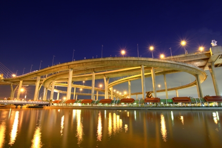 Bhumibol Bridge in Thailand, also known as the Industrial Ring Road Bridge, in Thailand. The bridge crosses the Chao Phraya River twice. Stock Photo - 15639694