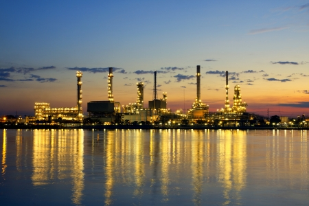 petrochemical oil refinery factory pipeline in the morning near river at  Bangkok Thailand Stock Photo