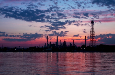 Oil refinery at twilight,Chao Phraya river in the morning, Thailand  photo