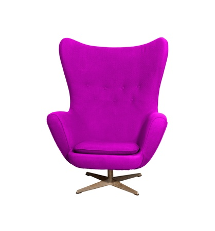 Arm chair color purple  isolated on white with clipping path photo
