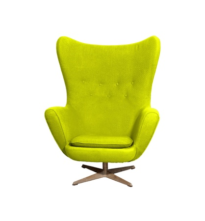 Arm chair color yellow  isolated on white photo