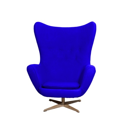Arm chair color blue  isolated on white with clipping path