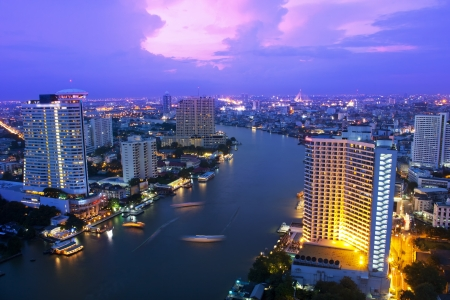 river bank: Landscape Bangkok city night view, Thailand