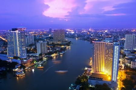 Peyzaj Bangkok şehir gece görünümü, Tayland