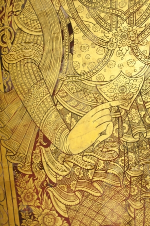 Art thai painting color gold on wall in temple.  Stock Photo - 16712067