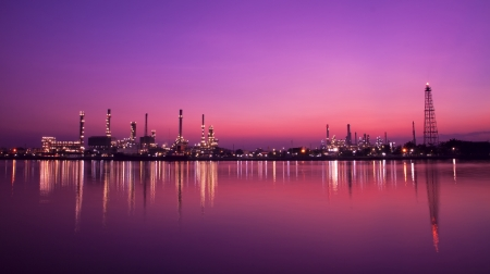 Landscape of oil refinery at twilight  Stock Photo