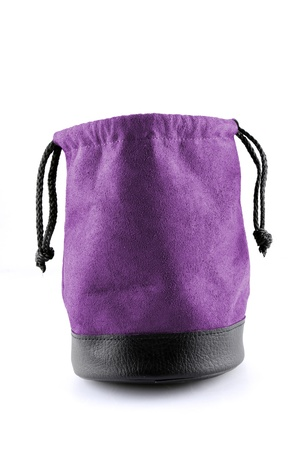 Bag leather color purple  on white background with path photo