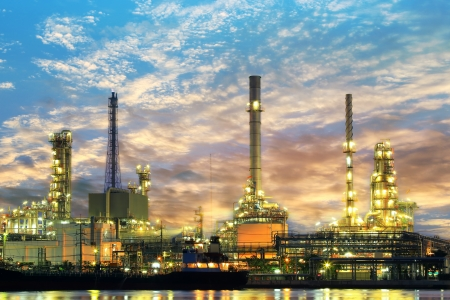 oil refinery: Oil refinery at twilight