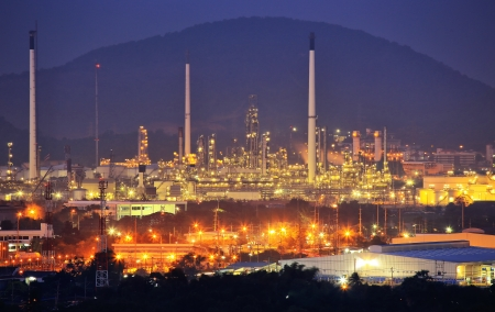 pollutant: Oil Refinery factory at night