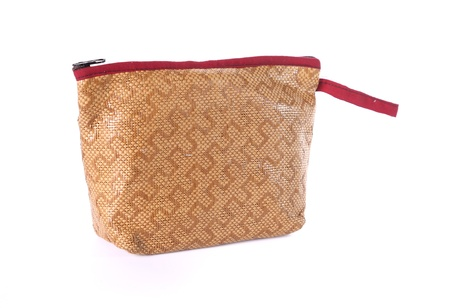 wicker bag on white background photo