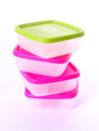 Transparent plastic boxes for storage of products photo