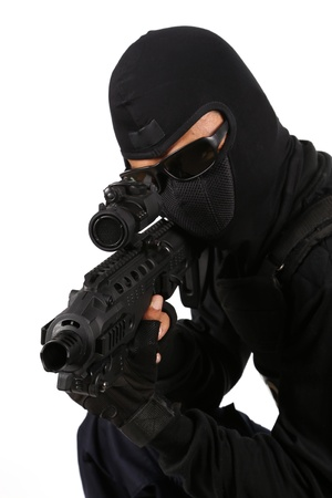 SWAT Team Officer on white isolated background photo