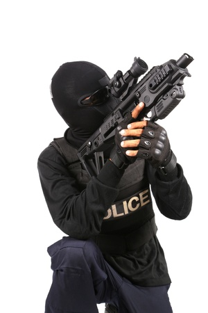 swat: SWAT Team Officer on white isolated background
