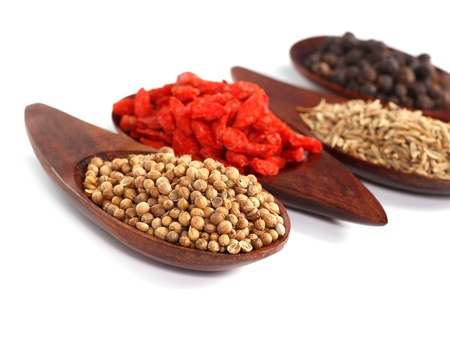 Various kinds of spices - Coriander Seed, Goji Berry,Cumin,Black peppercorns  photo