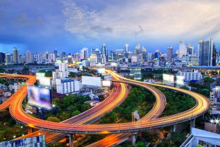 Bangkok city day view with main traffic