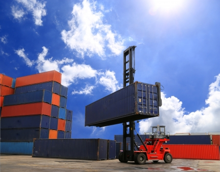 Containers in the port of Laem Chabang in Thailand   Stock Photo - 20340474