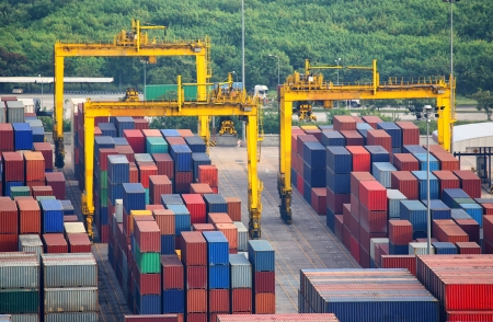 numerous: numerous shipping containers in port