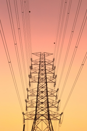 High-voltage tower with beautiful sky background.