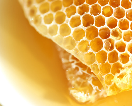 Close up sweet honeycombs on bamboo mat  photo