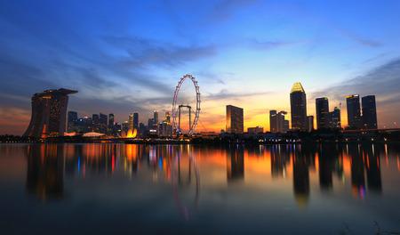Singapore city skyline at sunset time