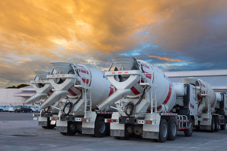 cement mixers car with beautiful sky photo