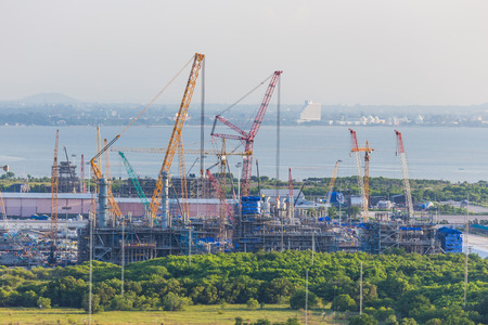 an erection: Platform petroleum fabrication and erection work in onshore yard on top view Editorial