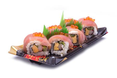 tekka: sushi sashimi with egg salmon on top