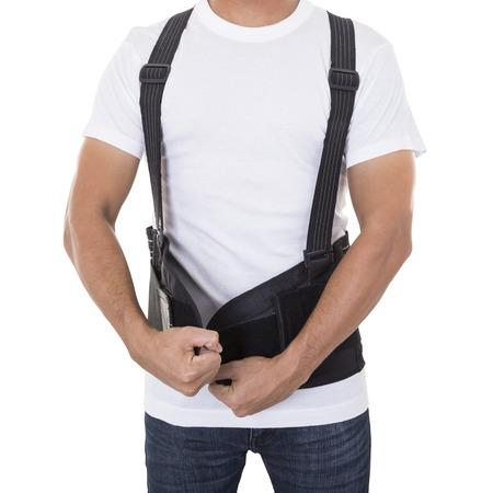 작업자는 지원 벨트를 착용하고 뒷 자세를 개선합니다.