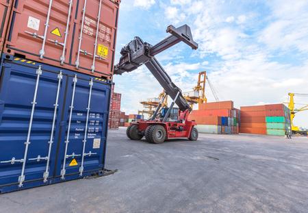 dockyard: forklift handling the container box at dockyard
