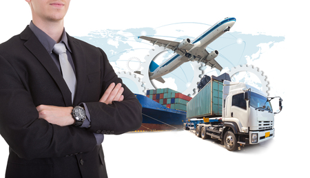 Business man withsupply chain management logistics Import Export concept Stock Photo
