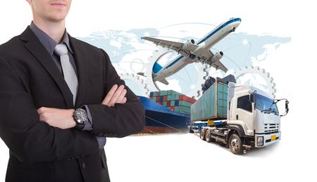 Business man withsupply chain management logistics Import Export concept Foto de archivo