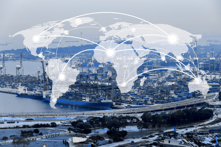 Map global connection concept,Industrial Container Cargo freight ship for Logistic Import Export background background