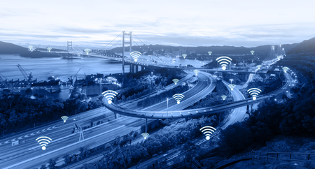Wifi network connection concept on the trafic