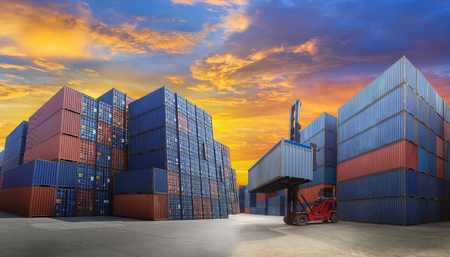 import and export business: Industrial Container yard with forklift working for Logistic Import Export business