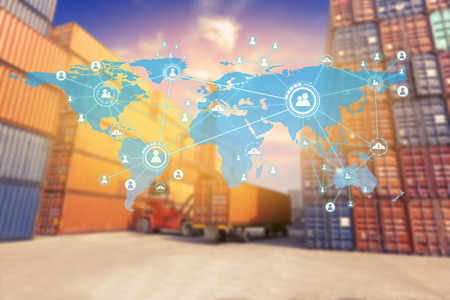 Social connection and networking Logistic Import Export background (Elements of this image furnished by NASA) Banque d'images