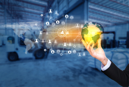Social connection and networking for distribution of goods in warehouse process , Logistic Import Export background (Elements of this image furnished by NASA) Stock Photo