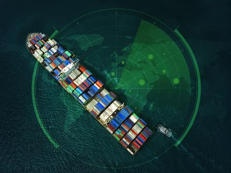 Containerschiff im Export- und Importgeschäft und in der Logistik im Ozean. Wassertransport International. Luftaufnahme