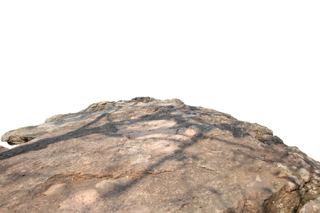 Cliff stone located part of the mountain rock isolated on white background. Imagens